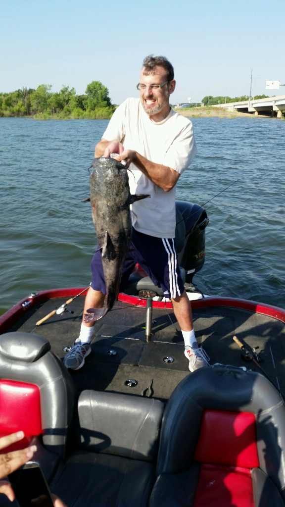A big Flat Head catfish caught on a guided fishing trip