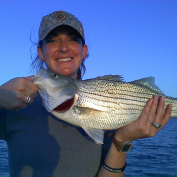 Lady with a Lake Lewisville Hybrid bass