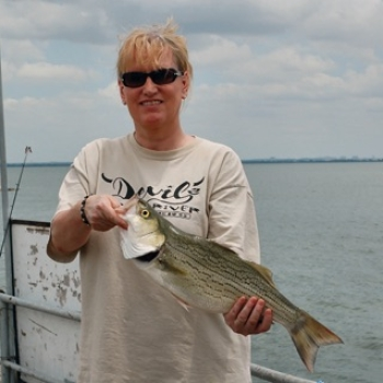 Lady with a nice Hybrid Bass caught on a guided fishing trip